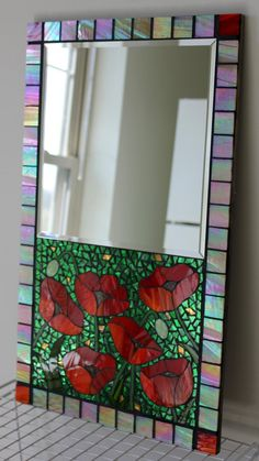 Mosaic, Stained Glass Mirror with Red Poppies