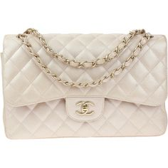 Pre-owned Chanel Pearly Beige Caviar Jumbo Double Flap ($4,500) ❤ liked on Polyvore featuring bags, handbags, shoulder bags, chanel, leather handbags, leather purses, chain strap shoulder bag, leather crossbody purses and pink shoulder bag