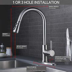 Single Handle High Arc Brushed Nickel Pull out Kitchen Faucet,Single Level Stainless Steel Kitchen Sink Faucets with Pull down Sprayer. Two Function Sprayer. Kitchen Faucet With Sprayer, Best Kitchen Faucets, Pull Out Kitchen Faucet, Mixer, Cleaning Faucets, Pull Out Faucet, Brass Faucet, Sink Design, Stainless Steel Kitchen