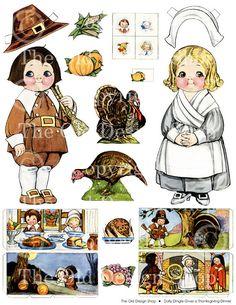 Dolly Dingle Gives a Thanksgiving Dinner Billie Bumps PAPERDOLL Paper Doll Collage Sheet Digital Download Old Design Shop. via Etsy.
