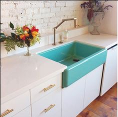 That sink! Love the colors and contrast, plus the beautiful wood flooring.