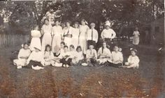 Photograph Snapshot Vintage Black and White: Family Dress Boys Girls Yard 1920's