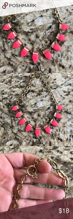 "Stella and Dot necklace Stella and Dot Pink Pave with Gold backings / chain link / about 18"" around / great statement piece! / worn a few times by me / some tarnishing as seen in the pics Stella & Dot Jewelry Necklaces"