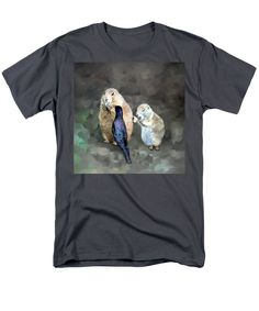 Purchase an adult t-shirt featuring the image of Prairie Dogs And A Bird Eating by Susanna  Katherine.  Available in sizes S - 4XL.  Each t-shirt is printed on-demand, ships within 1 - 2 business days, and comes with a 30-day money-back guarantee.