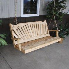 A Furniture Co. Fanback Red Cedar Porch Swing