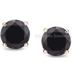 Ealing 5 Carat Stud Earrings Black Diamonds In Center Crafted With 14k Rose Gold Charming Diamond 4 50 Caratsbeautiful