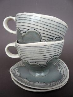 handbuild teacups & saucers #ceramics #pottery @Elizabeth Benotti