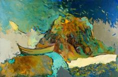 Pintura al �leo abstracta original de barcos, acantilados y el mar en canvas.Modern Impresionismo photo