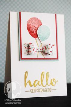 Hallo Geburtstagskind! - Nellis Stempeleien  Sale-a-bration 2016, Partyballoons, Partyballons, Geburtstagskarte, Hallo, Hello, Stampin' UP!, Schleifenstanze, Build a bow Punch,