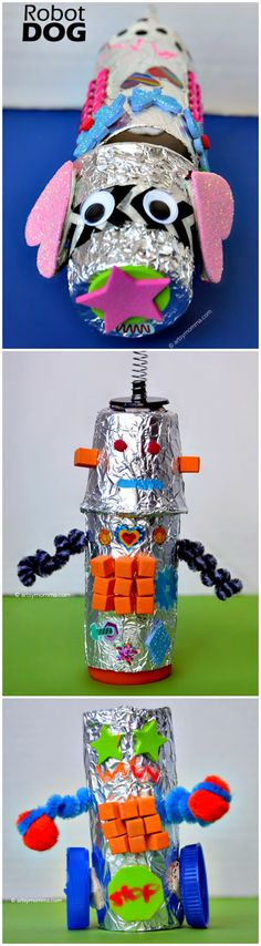 Crafty Recycled Robots an Invitation to Create is part of Recycled crafts Robot - Invitation to Create Recycled Robots Gather up junk + things on the way to the garbage then challenge your family to build tin foil robots! Recycled Robot, Recycled Crafts Kids, Recycled Art, Dog Crafts, Crafts For Kids, Arts And Crafts, Craft Activities, Preschool Crafts, Projects For Kids