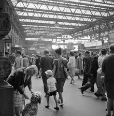 Passengers at Waterloo Station, London, The crowded concourse. (Photo by English Heritage/Heritage Images/Getty Images) London Now, East End London, Old London, London History, Local History, Tudor History, British History, London Transport, Public Transport