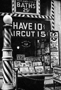 old barber shop print