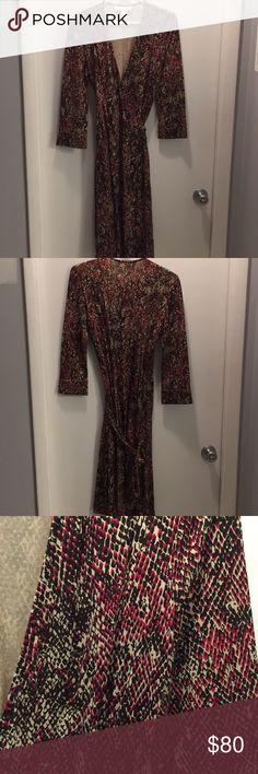100% Silk, vintage print, DVF wrap dress DVF Vintage Collection snake skin print in burgundy/chocolate. Worn three times. Diane Von Furstenberg Dresses