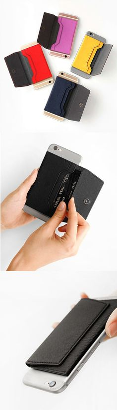 The Leather Sticky Card Case is an ingenious way to carry your cards! By attaching it to the back of your phone, you can carry your cards and bills while you are carrying your phone. This durable case has 2 pockets to organize your items, and a magnetic closure to keep the case securely closed while allowing you to open and close the case more conveniently!