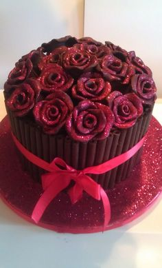 Luxury Chocolate Glittery Rose Cake by Charlotte Morley