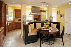 YELLOW WALLS WITH DARK CABINETS IN KITCHEN Design, Pictures, Remodel, Decor and Ideas - page 17...LIKE THE KITCHEN NOOK