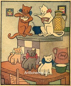 Josef Lada - Houpy, houpy, houpy, kočka snědla kroupy... (Národní říkadla)1921. Czechoslovakia