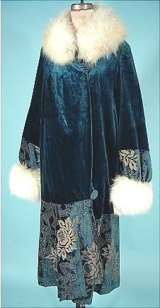c. 1920's CIERI, Hartford Connecticut Teal Blue Silk Velvet Flapper Coat with Gold Lame Embroidery and Off-White Fox Fur Trim; flapper, art deco