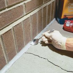For long-lasting concrete crack repair, fill wide cracks with foam backer rod before caulking. And use a caulk formulated for concrete. Brick Projects, Home Projects, Outdoor Projects, Home Improvement Loans, Home Improvement Projects, Home Renovation, Repair Cracked Concrete, Concrete Porch, Concrete Floors