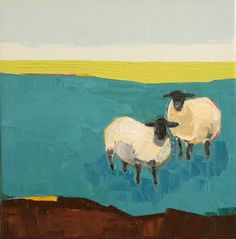 In the Blue Pasture- Oil Painting, 12x12 Painting, Sheep, Original Painting