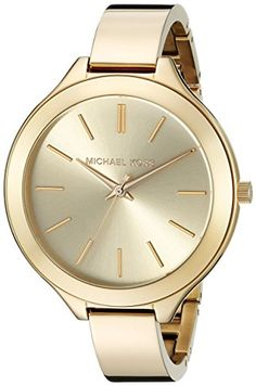 Women's Wrist Watches - Michael Kors Womens Slim Runway GoldTone Watch MK3275 * Continue to the product at the image link.