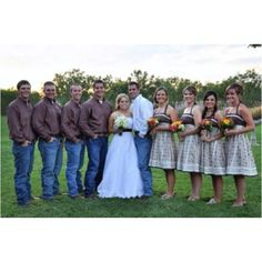 i want my guys like this but with white hats, but ross says he wont wear a white shirt..and i think my girls would wear a light pink dresses maybe..and the guys would have pink matching boutonnieres and the bridal flowers idk..all ideas for now