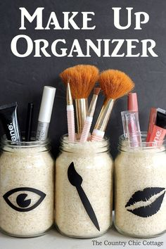 Make this make up organizer for your home in a few simple steps! Such a simple idea for organizing make up in the bathroom! #haircareorganizer,