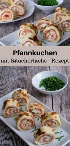Räucherlachs-Pfannkuchenrollen Here I have a recipe for quick and easy to prepare pancakes fil Pancake Roll, Party Finger Foods, Pancakes Easy, Smoked Salmon, Food Blogs, Appetizers For Party, Rolls, Food And Drink, Tasty