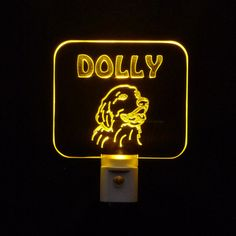 "Personalized #GoldenRetriever #LED Night light   ♦Made with 3/8"" Acrylic Plexiglass ♦3D Engraved"