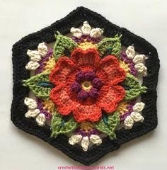 Crochet between worlds: Frida's Flowers CAL - Block 5 - Heart Rose