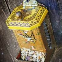Repurposed Upcycled Vintage Match Dispenser Small Bird Feeder by GadgetSponge.com