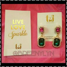 """**HP 12/29!!** Jeweled earrings!! Dazzle in these gorgeous jeweled earrings! Perfect for any occasion! Pink and green jewels surrounded with gold metal. So lovely!! 1.5"""" drop. T&J designs ***host pick 12/29/2015 new year, new you party!!***    Jewelry Earrings"""