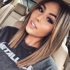 Pin by desi on hair in 2019 cabello ombre, cabello cortito, Summer Hairstyles, Pretty Hairstyles, Straight Hairstyles, Lob Haircut Straight, Summer Haircuts, Everyday Hairstyles, Easy Hairstyles, Hair Color And Cut, Haircut And Color