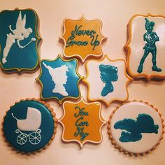 Peter Pan Neverland Themed Baby Shower Cookies #cookiecouture #peterpancookies #tinkerbell | by Cookie Couture, LLC