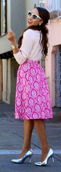 Lulu's Pink Multi Tapestry Print Midi Skirt