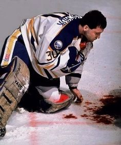 One of the most crucial hockey injuries. Slit to the neck