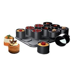 Ring Mold Set - for cylindrical creations like tortes or canapes - designed for baking, chilling or freezing, and the nonstick molds snap off and onto the base.