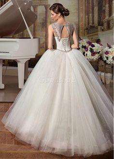 Robe de mariée mode de bal romantique col ras du cou tulle de traîne courte - photo 3