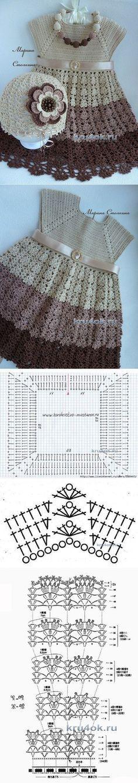 Шапочка и сарафан для девочки — работы Марины Стоякиной - вязание крючком на kru4ok.ru Baby Clothes Patterns, Crochet Baby Clothes, Baby Patterns, Knitting Patterns, Crochet Patterns, Crochet Dresses, Crochet Girls, Crochet For Kids, Crochet Gratis