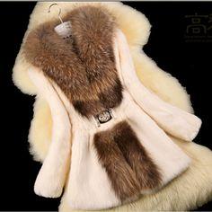Goedkope 2016 Lady Fashion Natuurlijke Konijnenbont Jas Wasbeer Bontkraag  Winter Vrouwen Bont Geul Bovenkleding Jassen 3XL e480b2b339
