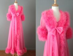 Vintage 60s Pink Peignoir Set // Robe and Nightgown Set // Extra Small