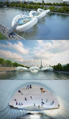 giant inflatable bridge in paris with built in trampolines!