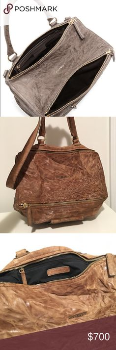 Givenchy bag Givenchy large Pandora satchel bag in brown (khaki) washed leather (Sheep). Great condition.                                                                - Top handle, detachable shoulder strap - Designer plaque, zipped pocket, silver hardware - Internal zipped pocket - Fully lined in black twill - Zip fastenings along topGreat condition. Givenchy Bags Satchels