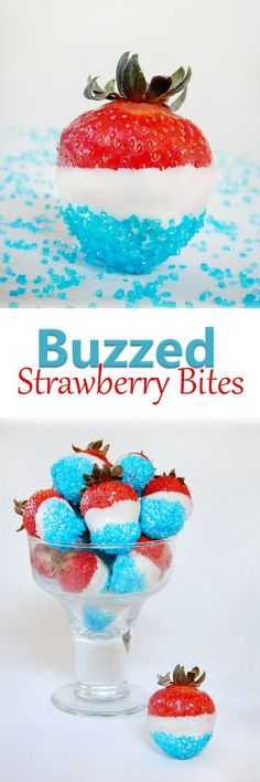 These would be better than the cherries and we could use our colors instead of blue🤔 Buzzed Strawberry Bites Strawberries soaked in rum then covered in white chocolate and blue sprinkles. Perfect for Fourth of July dessert. 4th Of July Desserts, Fourth Of July Food, 4th Of July Party, July 4th, Party Drinks, Fun Drinks, Beverages, Alcoholic Desserts, Fruit Party