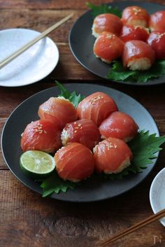 Bathong this is so delicicious if only I could eat it now😁😍 Sashimi, Tapas, Cute Food, Yummy Food, Dessert Chef, Food Porn, Tempura, Recipes From Heaven, Aesthetic Food