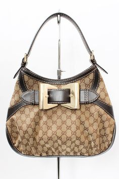Gucci Queen GG Monogram Canvas Brown Leather Hobo Bag | juneresale.com