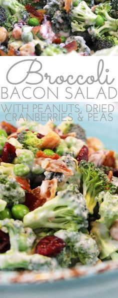 Crunchy Broccoli Salad with Bacon is the perfect side dish for all your picnics and barbecues this summer! It combines surprising ingredients - salty and sweet - making for a yummy new salad that wont wilt! Salad Recipes For Dinner, Salad Dressing Recipes, Easy Salads, Healthy Salad Recipes, Summer Salads, Salads For Bbq, Breakfast Recipes, Side Dish Recipes, Side Dishes