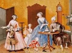 Archduchess Maria Christina of Austria (1742-1822) Distribution of gifts on the Feast of St Nicholas, gouache, 1762    Here coffee is on the table as the children receive their presents from Santa.