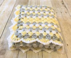 Yellow Grey Blanket, Crochet Baby Blanket, Granny Square, Yellow Baby Blanket, Crochet Blanket, Baby Afghan, Baby Shower Gift, Ready to Ship, Crib Blanket, Photo Prop, Handmade Crochet, Gender Neutral, Yellow Bedding Custom orders are welcome! If you see something you like but