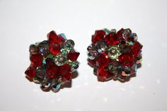 Vintage Earrings Red Cluster Crystal 1950s Jewelry by patwatty, $4.00